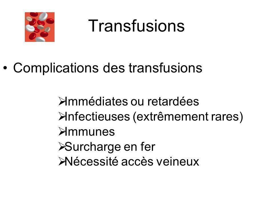 Transfusions Complications des transfusions Immédiates ou retardées
