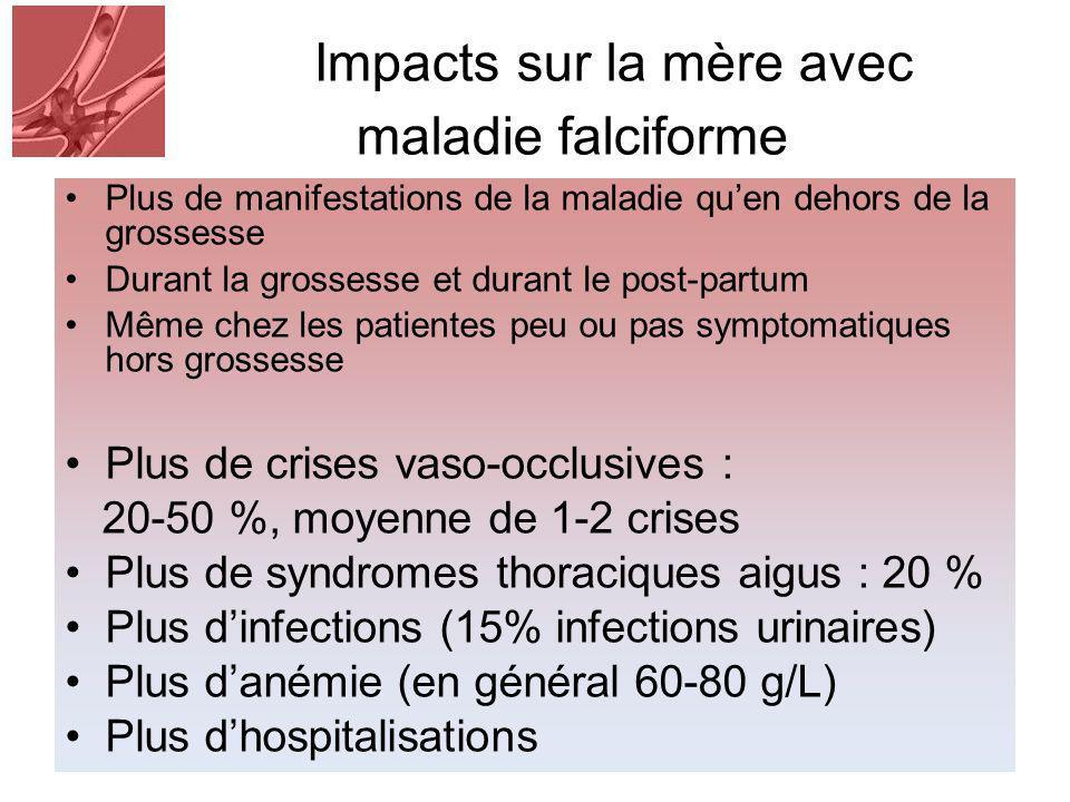 Impacts sur la mère avec maladie falciforme