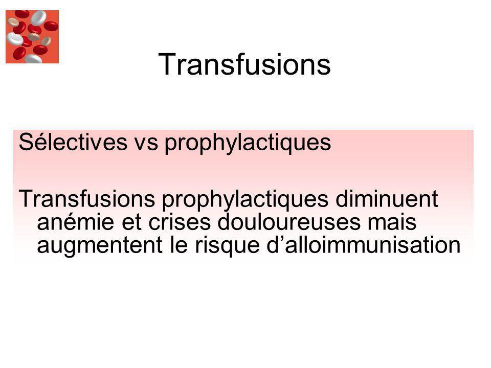 Transfusions Sélectives vs prophylactiques