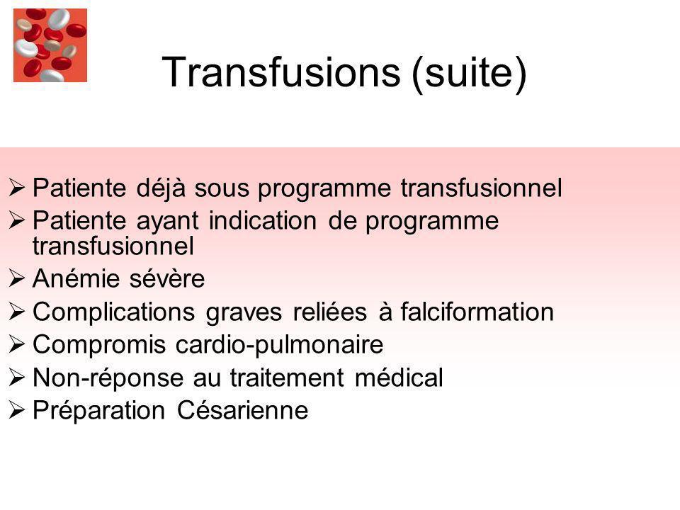 Transfusions (suite) Patiente déjà sous programme transfusionnel