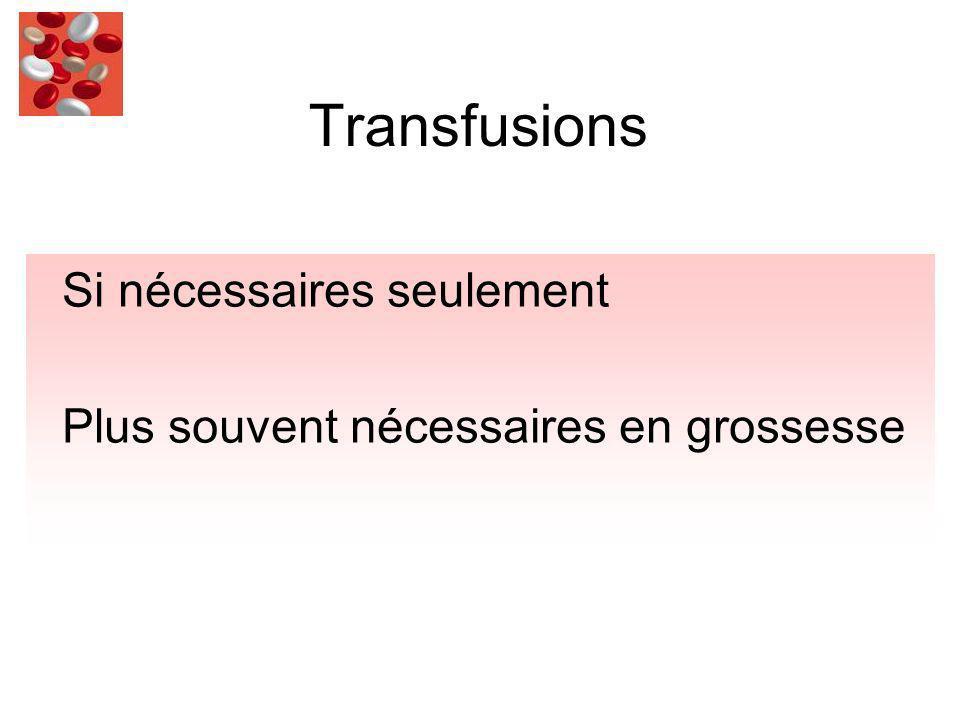 Transfusions Si nécessaires seulement