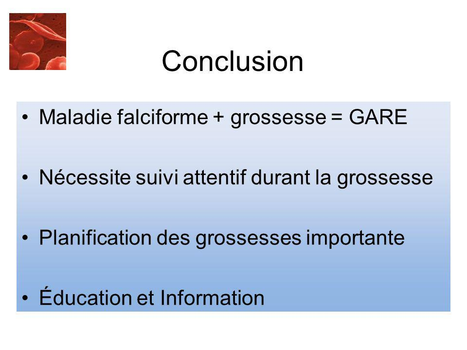 Conclusion Maladie falciforme + grossesse = GARE