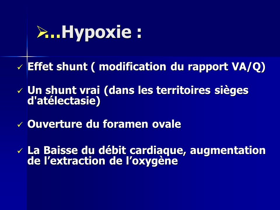 …Hypoxie : Effet shunt ( modification du rapport VA/Q)