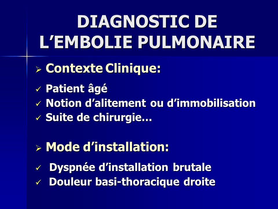 DIAGNOSTIC DE L'EMBOLIE PULMONAIRE