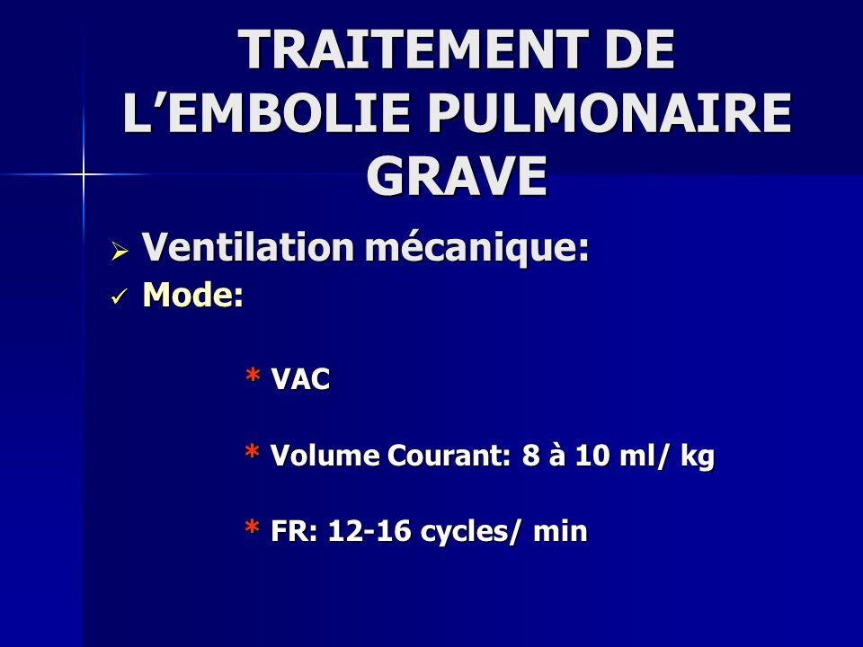 TRAITEMENT DE L'EMBOLIE PULMONAIRE GRAVE