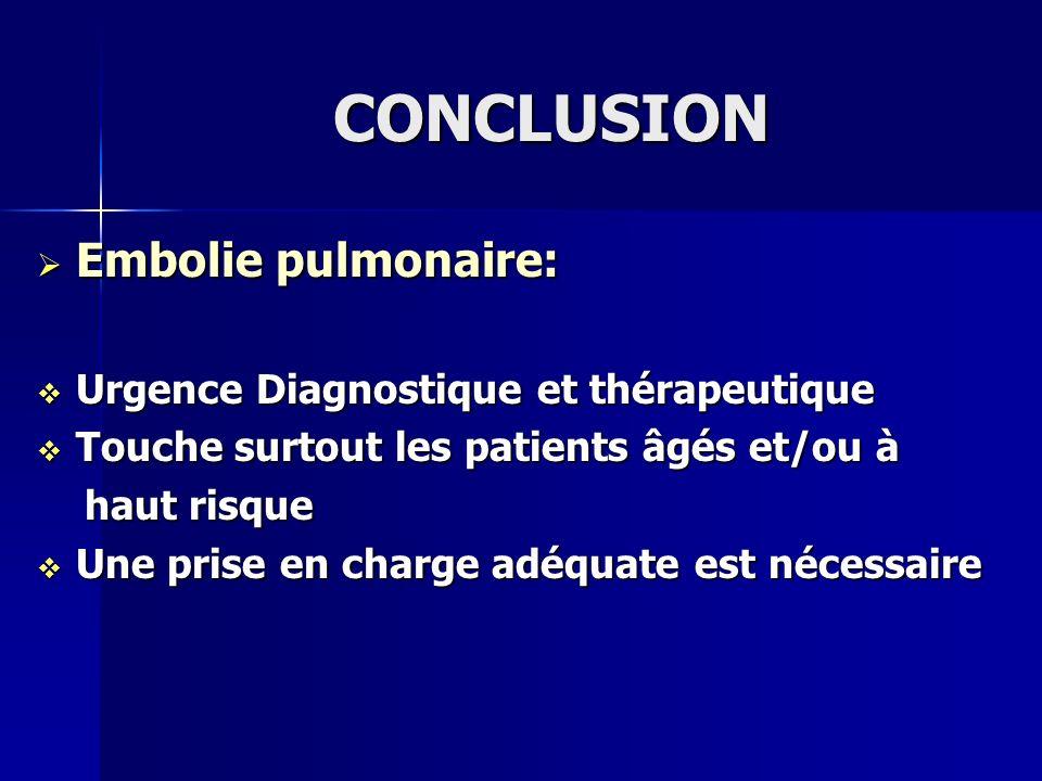 CONCLUSION Embolie pulmonaire: Urgence Diagnostique et thérapeutique