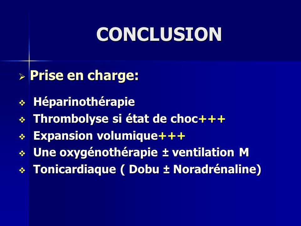 CONCLUSION Prise en charge: Héparinothérapie