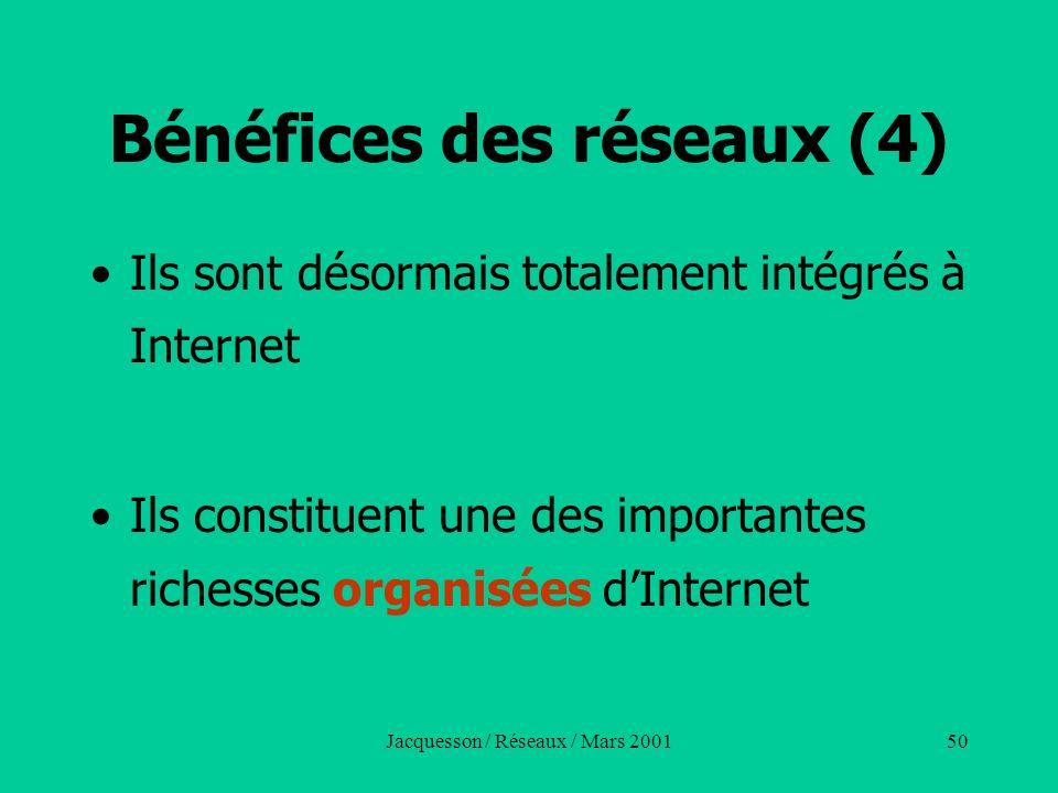 Bénéfices des réseaux (4)