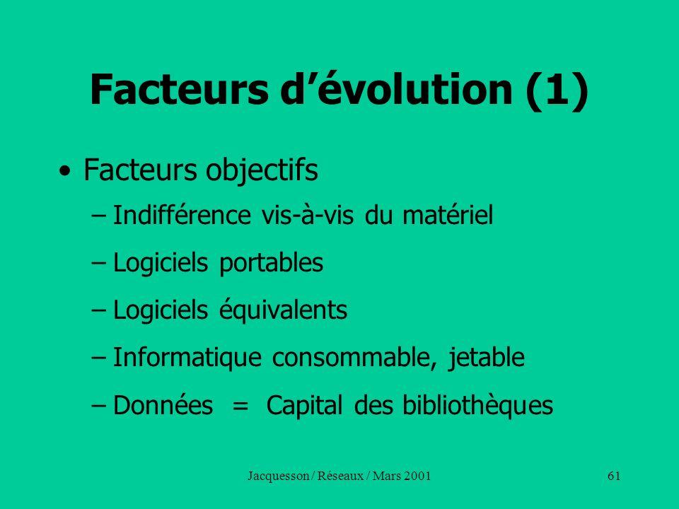 Facteurs d'évolution (1)