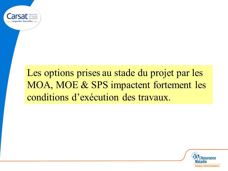 Les options prises au stade du projet par les MOA, MOE & SPS impactent fortement les conditions d'exécution des travaux.