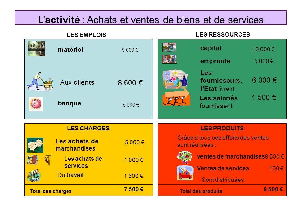 L'activité : Achats et ventes de biens et de services