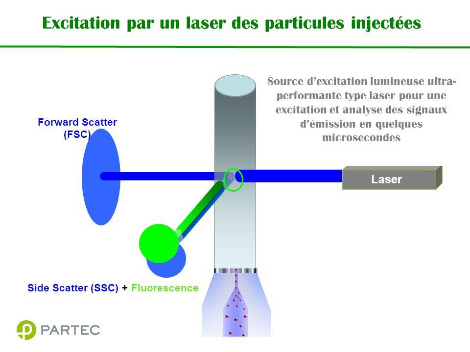 Excitation par un laser des particules injectées