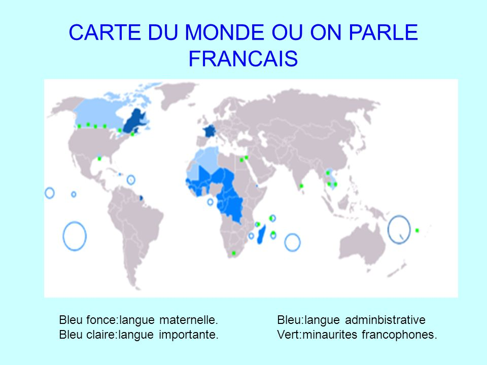 CARTE DU MONDE OU ON PARLE FRANCAIS