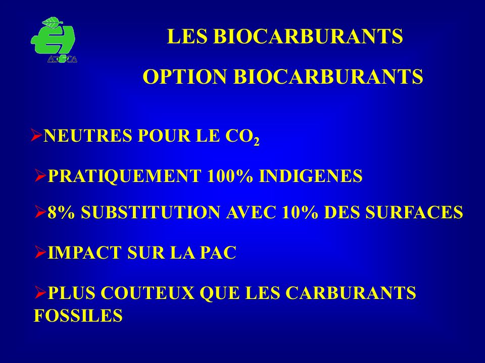 LES BIOCARBURANTS OPTION BIOCARBURANTS NEUTRES POUR LE CO2