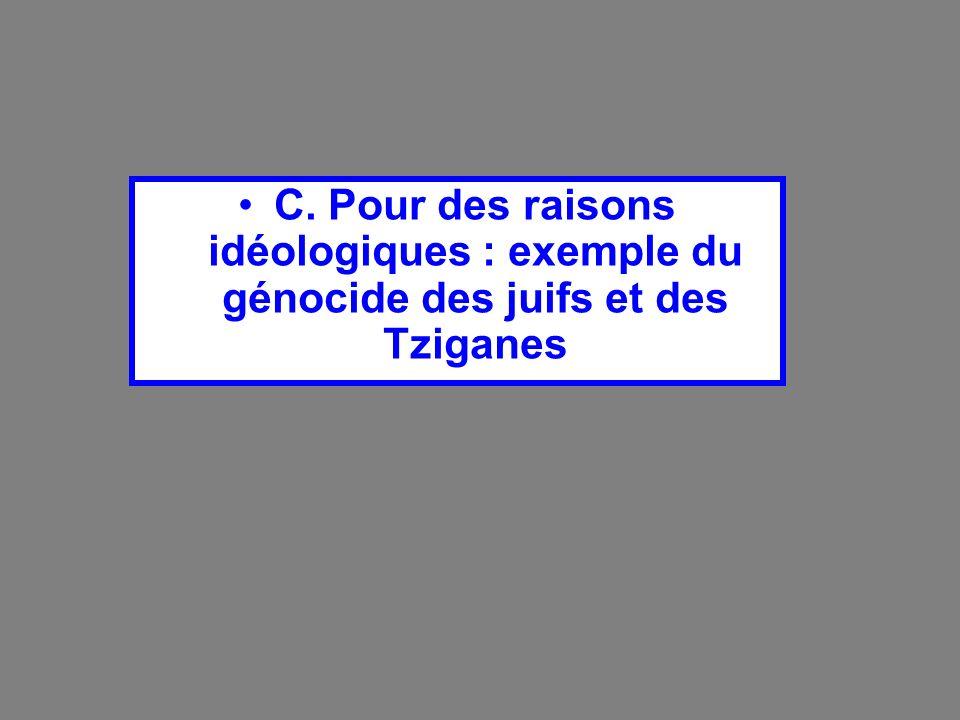 C. Pour des raisons idéologiques : exemple du génocide des juifs et des Tziganes