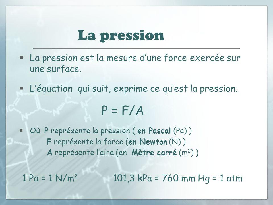 La pression (suite) La pression est la mesure d'une force exercée sur une surface. L'équation qui suit, exprime ce qu'est la pression.
