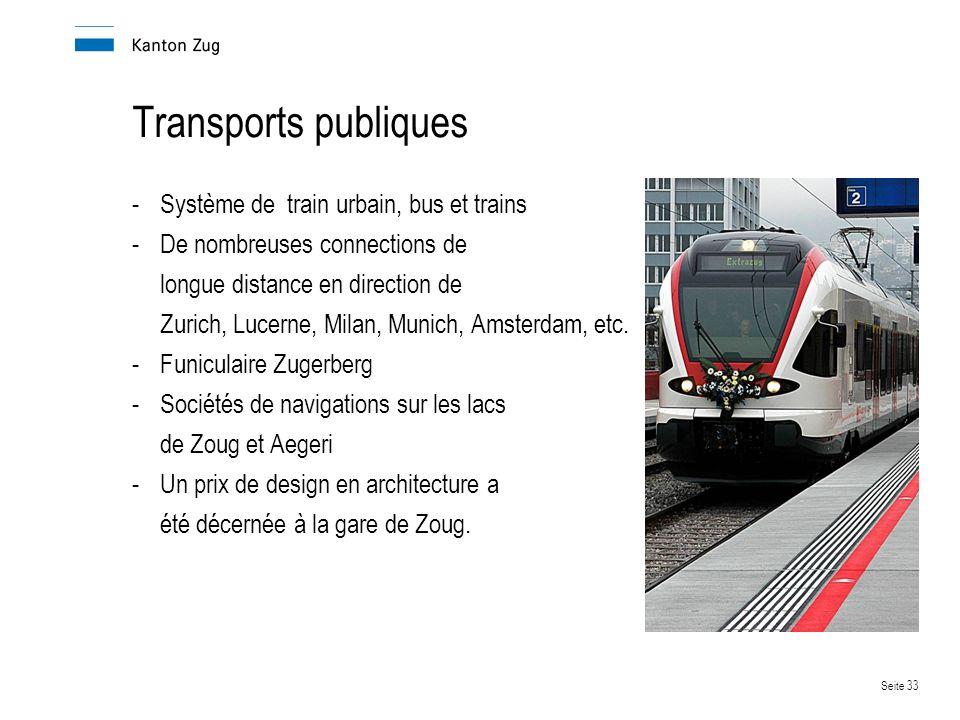 Transports publiques Système de train urbain, bus et trains