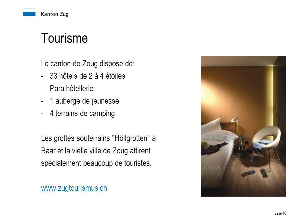 Tourisme Le canton de Zoug dispose de: 33 hôtels de 2 à 4 étoiles