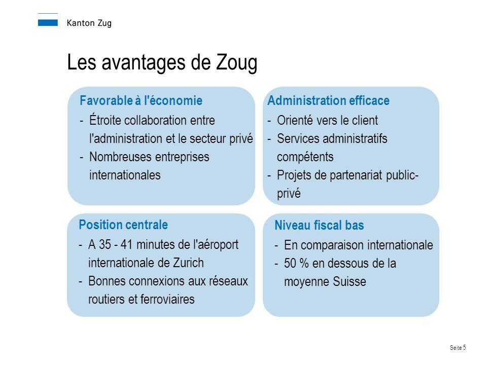 Les avantages de Zoug Favorable à l économie