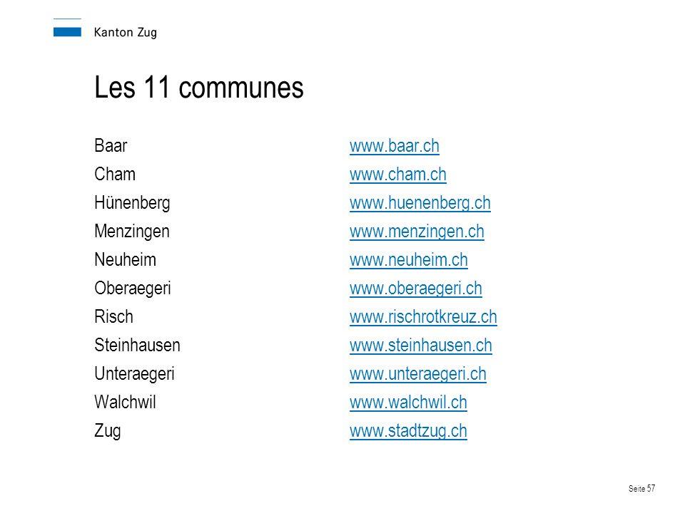 Les 11 communes Baar www.baar.ch Cham www.cham.ch