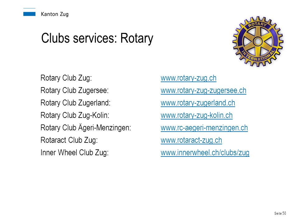 Clubs services: Rotary