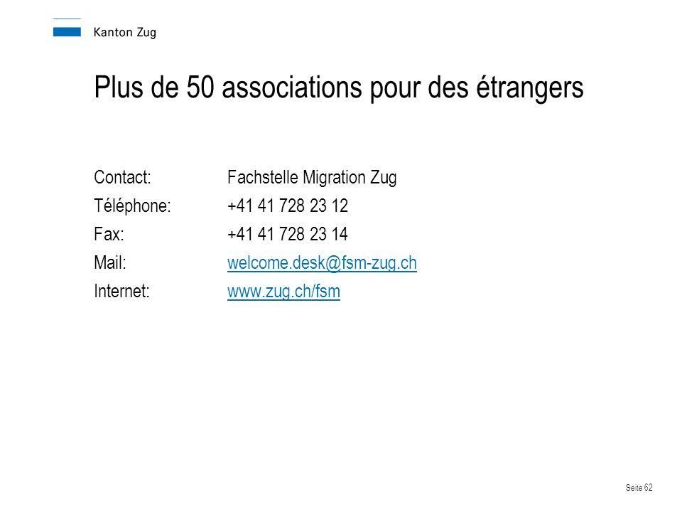 Plus de 50 associations pour des étrangers