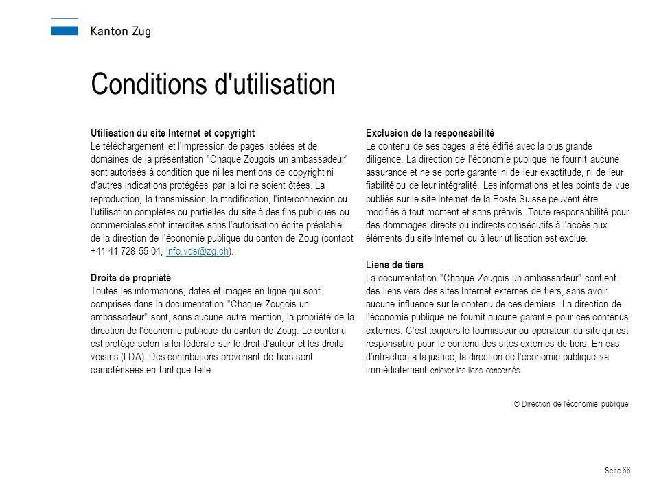 Conditions d utilisation