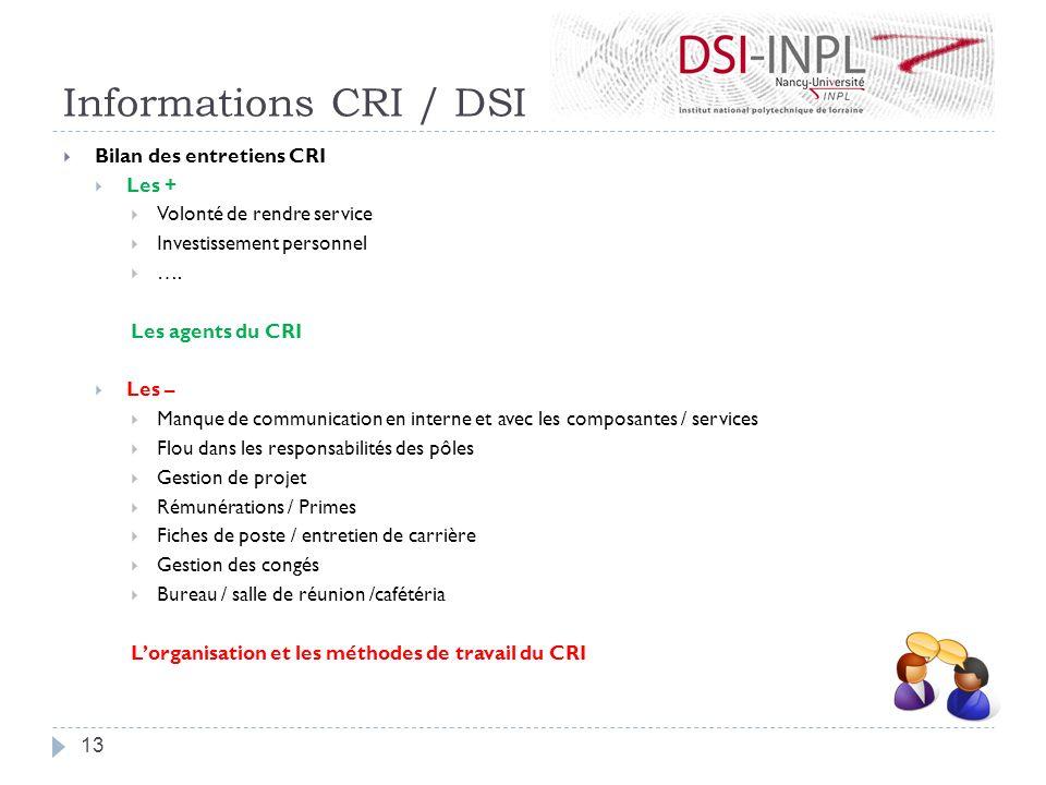 Informations CRI / DSI Bilan des entretiens CRI Les +