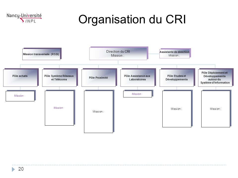 Organisation du CRI Direction du CRI Assistante de direction Mission :