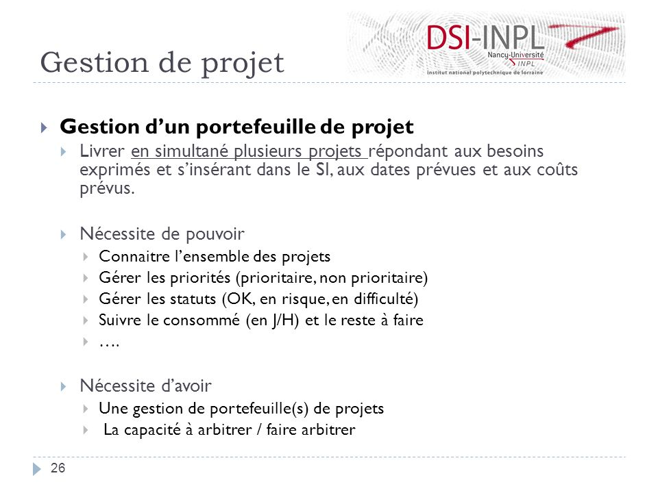 Gestion de projet Gestion d'un portefeuille de projet