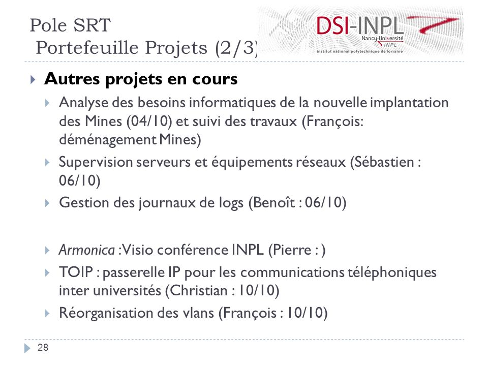 Pole SRT Portefeuille Projets (2/3)