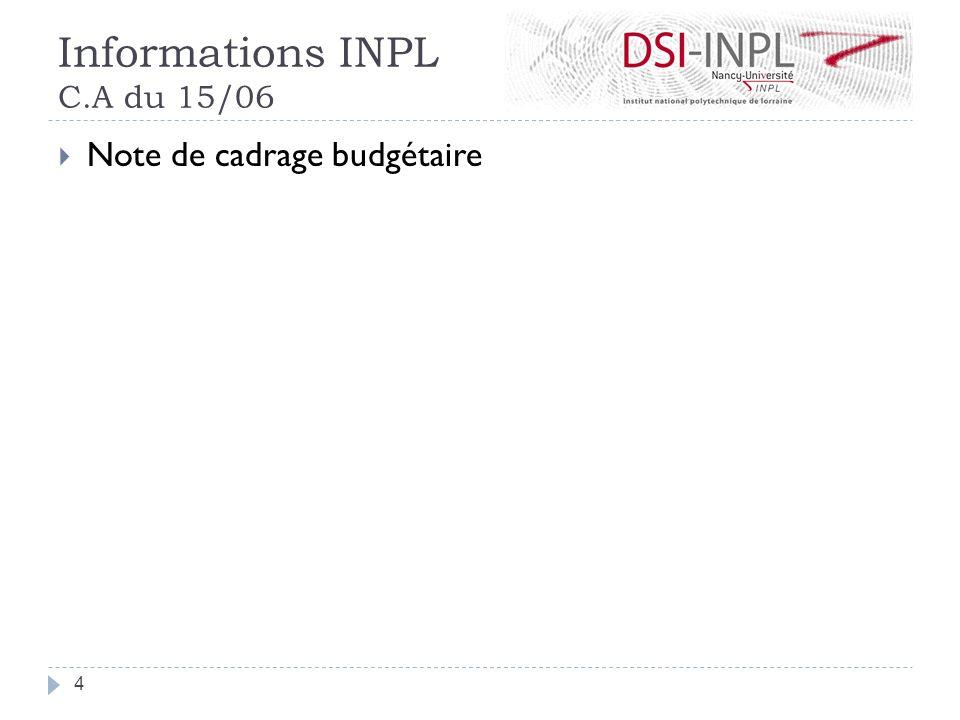 Informations INPL C.A du 15/06