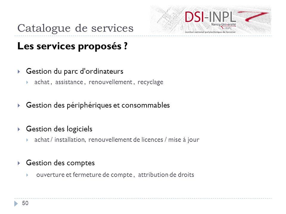 Catalogue de services Les services proposés