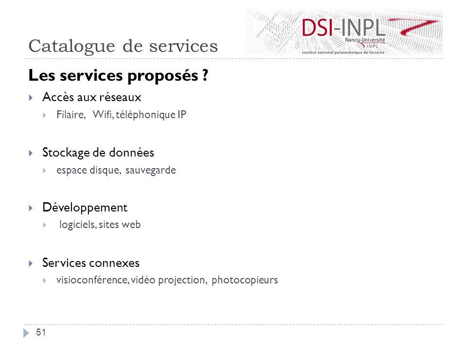 Catalogue de services Les services proposés Accès aux réseaux