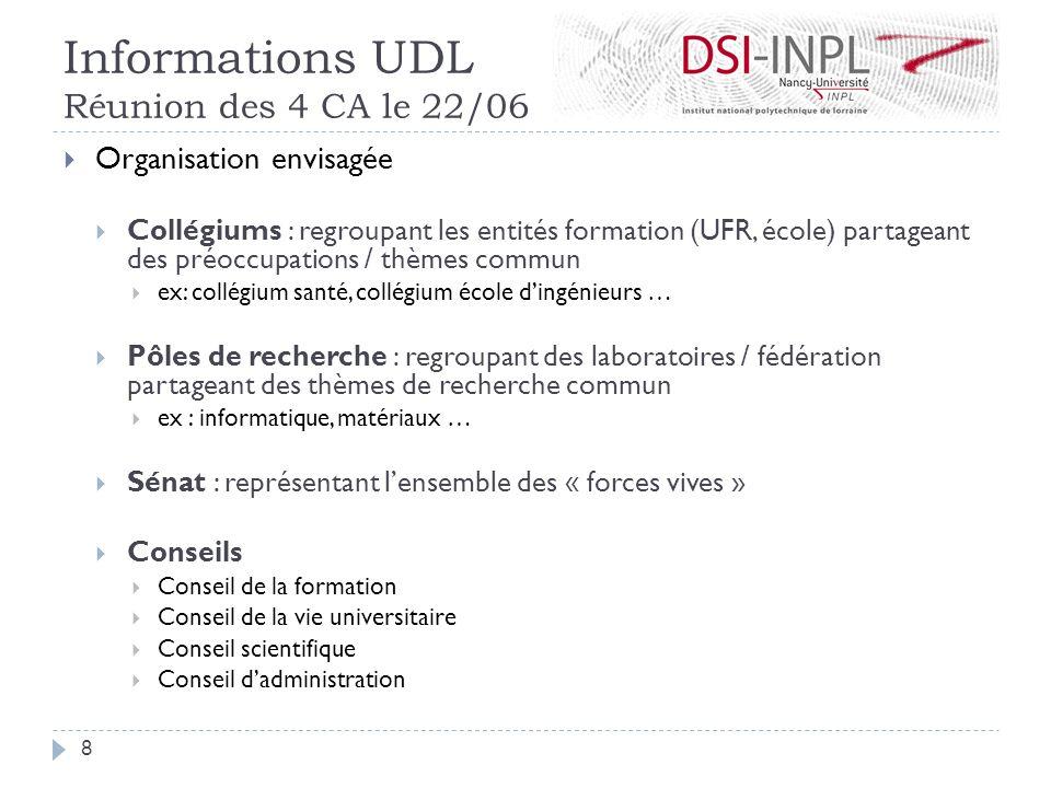 Informations UDL Réunion des 4 CA le 22/06