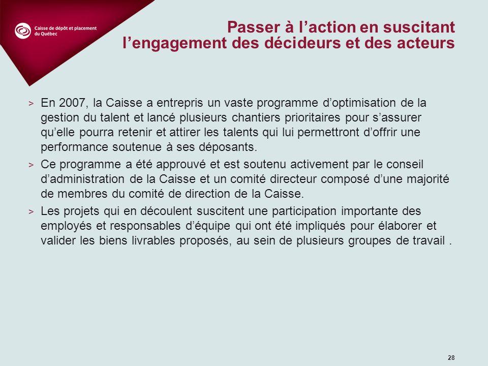 Aperçu du programme d'optimisation de la gestion du talent à la Caisse Les projets 2007-2008