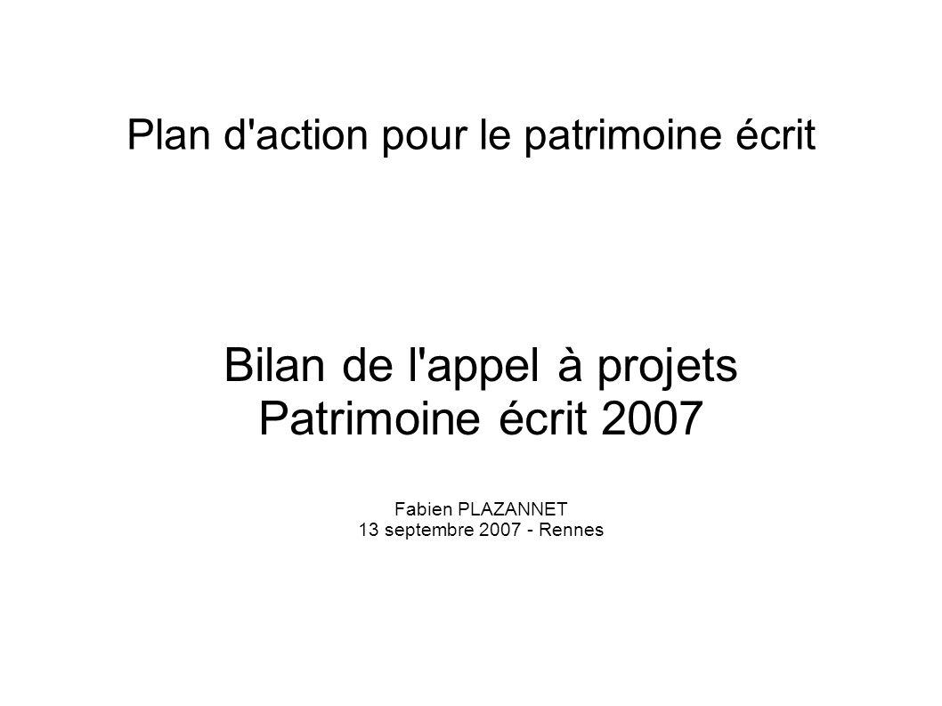 Plan d action pour le patrimoine écrit
