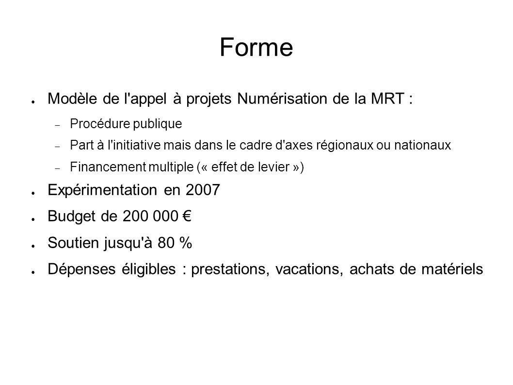 Forme Modèle de l appel à projets Numérisation de la MRT :