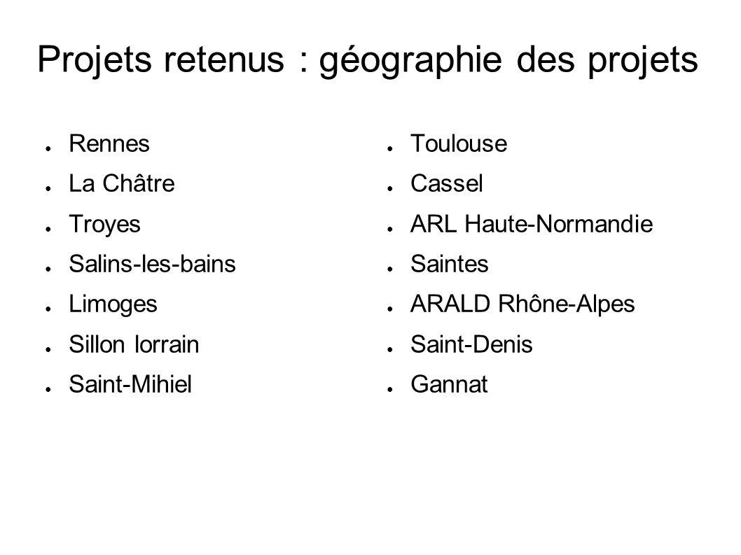 Projets retenus : géographie des projets