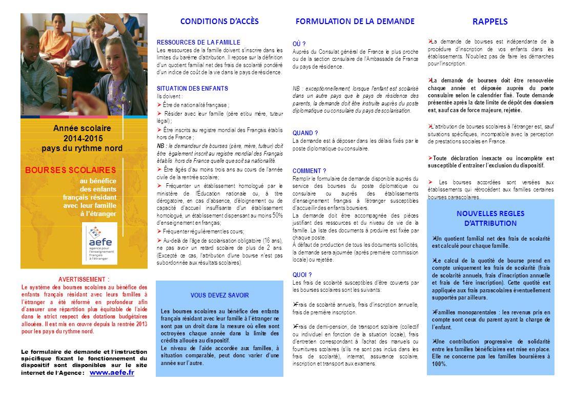 FORMULATION DE LA DEMANDE NOUVELLES REGLES D'ATTRIBUTION