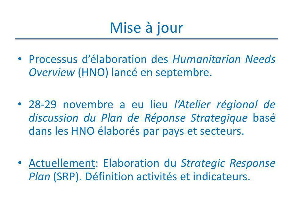 Mise à jour Processus d'élaboration des Humanitarian Needs Overview (HNO) lancé en septembre.
