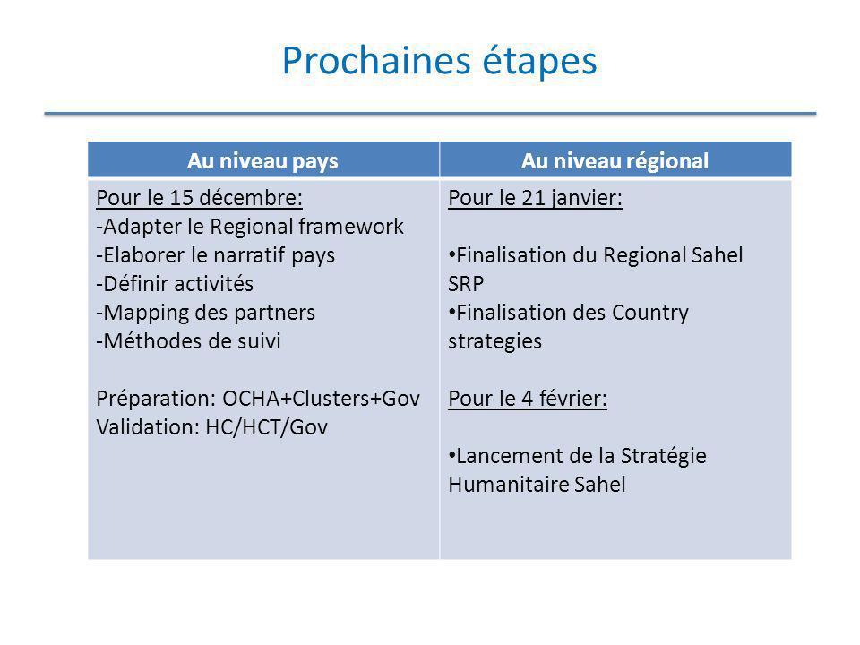 Prochaines étapes Au niveau pays Au niveau régional