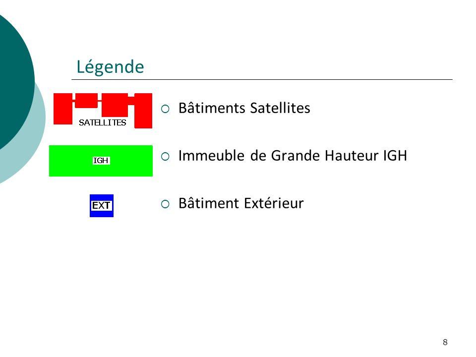 Légende Bâtiments Satellites Immeuble de Grande Hauteur IGH