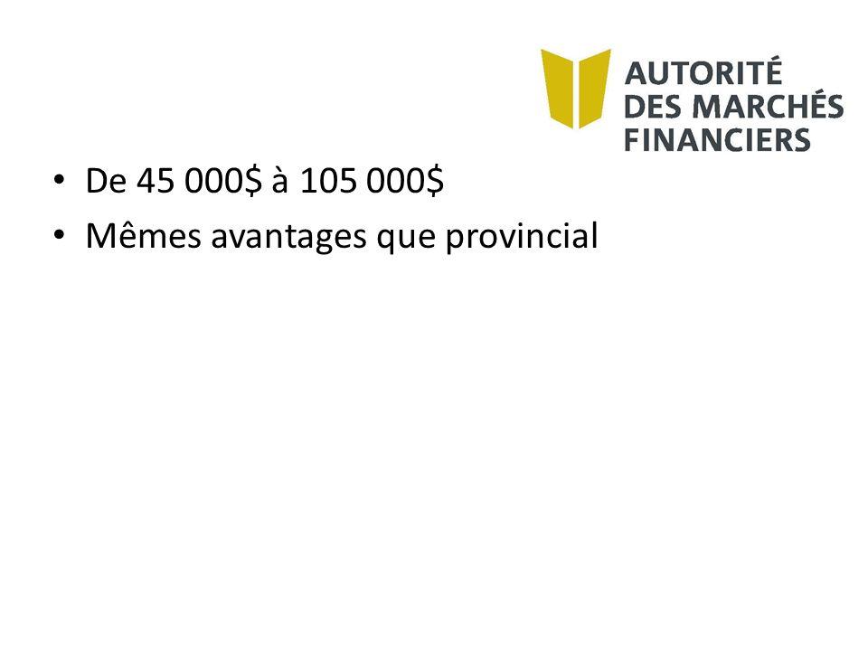 De 45 000$ à 105 000$ Mêmes avantages que provincial