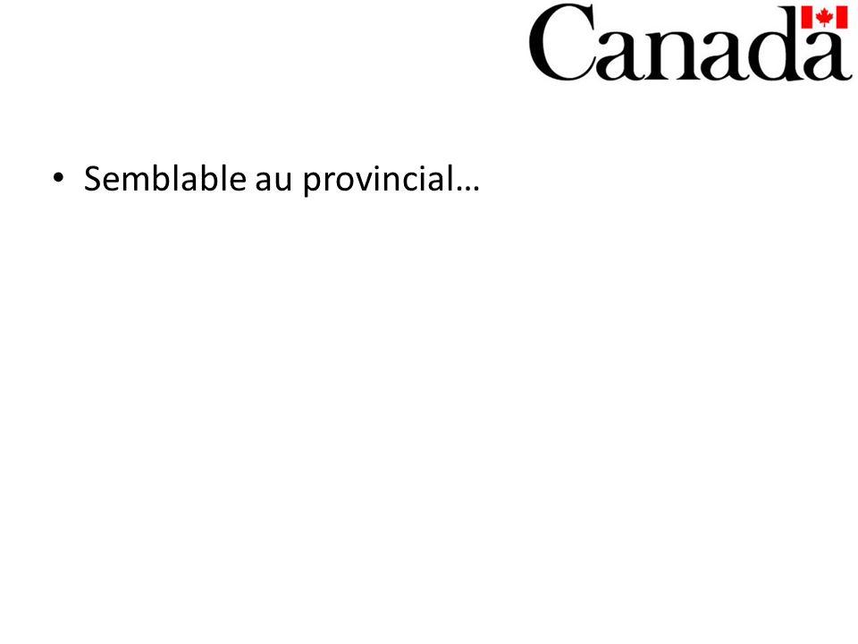 Semblable au provincial…