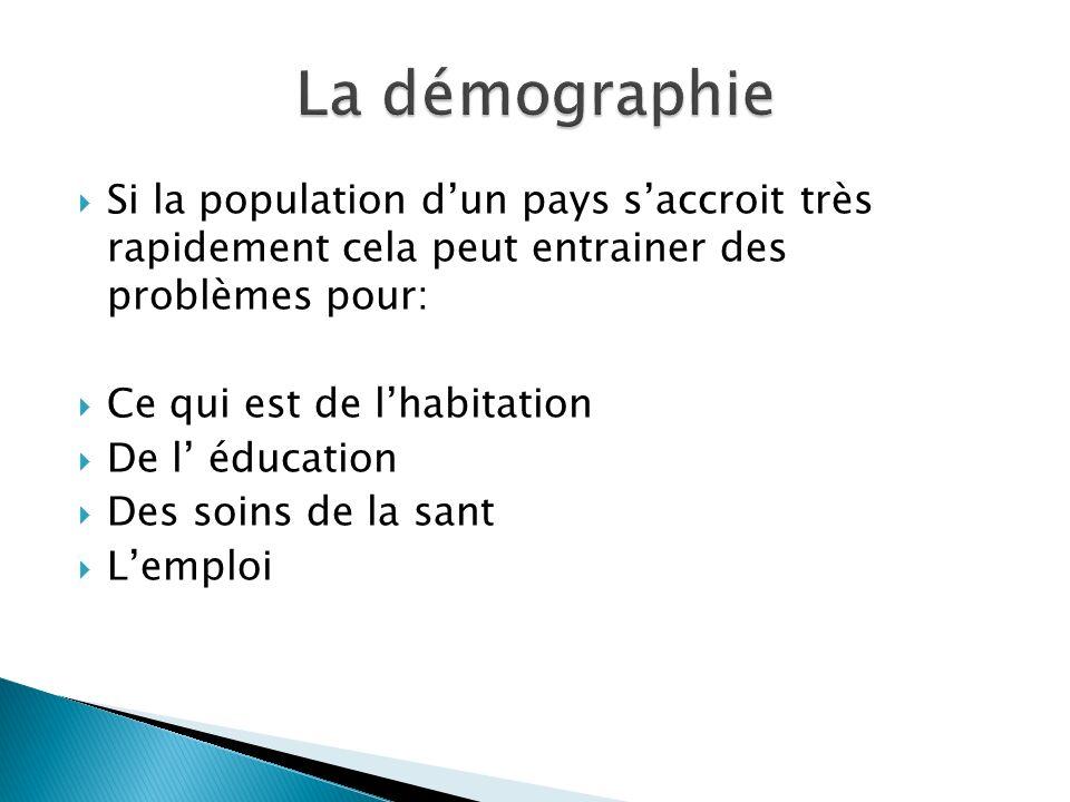 La démographie Si la population d'un pays s'accroit très rapidement cela peut entrainer des problèmes pour: