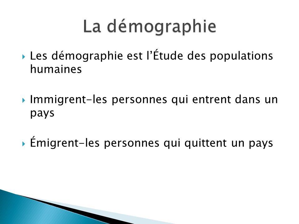 La démographie Les démographie est l'Étude des populations humaines