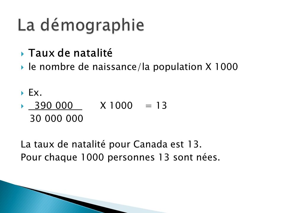 La démographie Taux de natalité
