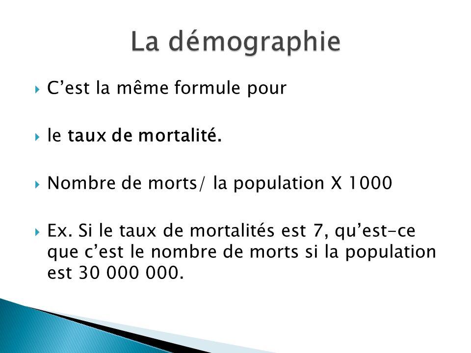 La démographie C'est la même formule pour le taux de mortalité.