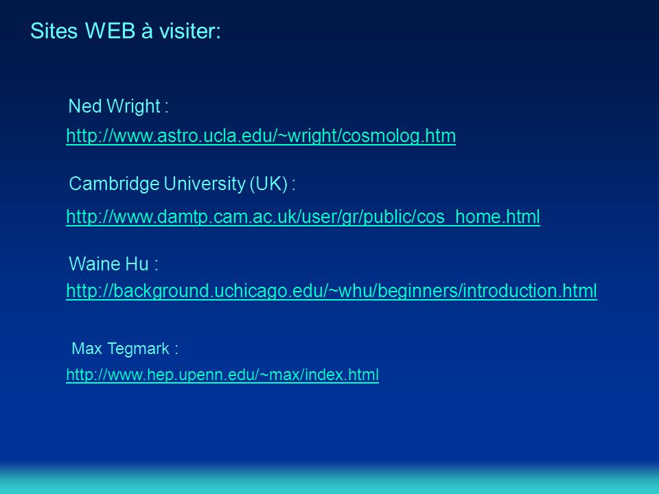 Sites WEB à visiter: Ned Wright :